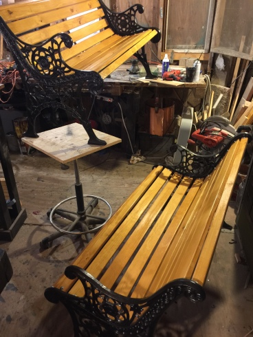 Both benches are touched up, varnished and ready to go!